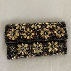 NWT Anthropologie beaded magnetic clasp clutch